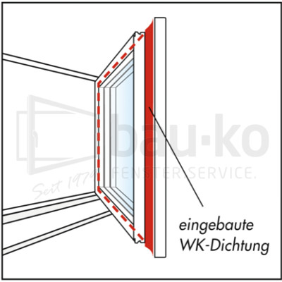 eingebaute Fensterabdichtung (bau-ko WK-Dichtung) technisches Schaubild